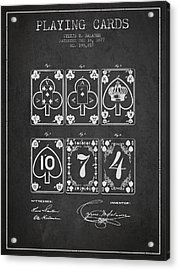 Playing Cards  Patent Drawing From 1877 - Dark Acrylic Print by Aged Pixel