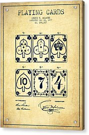 Playing Cards  Patent Drawing From 1877 - Vintage Acrylic Print by Aged Pixel