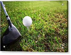 Playing Golf. Club And Ball On Tee Acrylic Print by Michal Bednarek