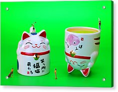 Playing Golf On Cat Cups Acrylic Print by Paul Ge