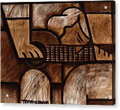 Tommervik Man Playing Acoustic Guitar Art Acrylic Print by Tommervik
