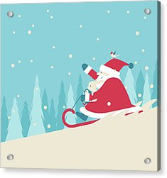 Playing Snow Sled Acrylic Print by Akindo