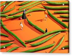 Playing Tennis Among French Beans Little People On Food Acrylic Print