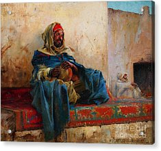 Playing The Derbakeh Biskra Acrylic Print by Celestial Images