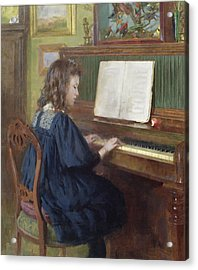 Playing The Piano Acrylic Print by Ernest Higgins Rigg