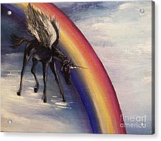 Playing With Rainbow Acrylic Print by Karen  Ferrand Carroll