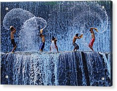 Playing With Splash Acrylic Print by Angela Muliani Hartojo
