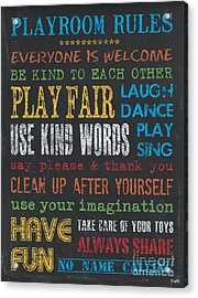 Playroom Rules Acrylic Print by Debbie DeWitt