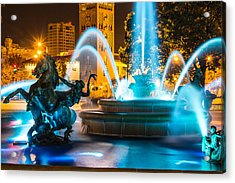 Plaza Blue Fountain Acrylic Print