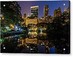 Plaza Hotel Reflected In Central Park Pond Acrylic Print