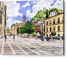 Plaza Nueva And Santa Ana Church Granada Acrylic Print by Margaret Merry