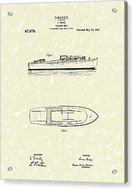 Pleasure Boat 1915 Patent Art Acrylic Print by Prior Art Design