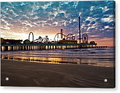 Pleasure Pier Galveston At Dawn Acrylic Print by John Collins