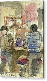Plein Air Sketchbook. Stix Billiard Room. Ventura California. June 30. 2012. Boys At The Bar Acrylic Print by Cathy Peterson
