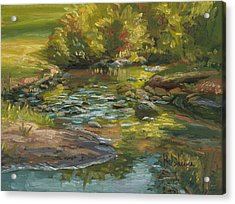Plein Air - Stream In Forest Park Acrylic Print by Lucie Bilodeau