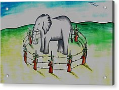Plight Of Elephants Acrylic Print by Tanmay Singh