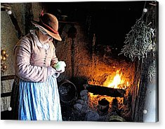 Plimoth Plantation  Pilgrim Fireplace Cooking Acrylic Print