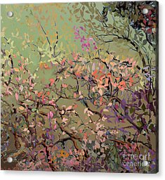 Plum Blossoms Acrylic Print by Ursula Freer