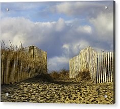 Acrylic Print featuring the photograph Plum Island Fence by Betty Denise