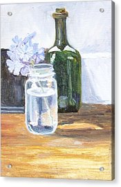 Plumbago In Glass Jar Acrylic Print by Mary Adam