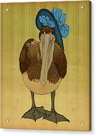 Acrylic Print featuring the drawing Plumpskin Ploshkin Pelican Jill by Meg Shearer