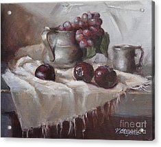 Plums Grapes And Pewter Acrylic Print by Viktoria K Majestic