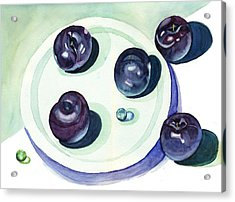 Acrylic Print featuring the painting Plums by Katherine Miller