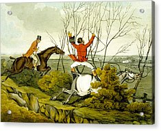 Plunging Through The Hedge From Qualified Horses And Unqualified Riders Acrylic Print by Henry Thomas Alken