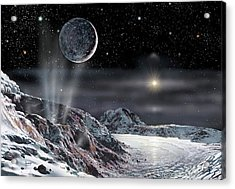 Pluto And Charon Acrylic Print by David A. Hardy