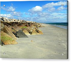Acrylic Print featuring the photograph Plymouth Beach In Massachusetts by Janice Drew