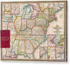 Pocket Map Of The United States Acrylic Print by Paul Fearn
