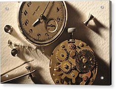 Pocket Watch Macro Number 1 Acrylic Print by John B Poisson