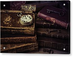 Pocket Watch On Old Book Acrylic Print by Garry Gay