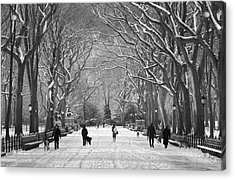 Acrylic Print featuring the photograph New York City - Poets Walk Winter by Dave Beckerman