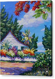 Poinciana And Cottage Acrylic Print by John Clark
