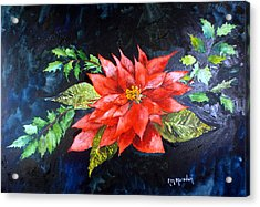Poinsettia And Holly 2012 Acrylic Print