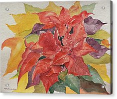 Acrylic Print featuring the painting Poinsettias by Geeta Biswas