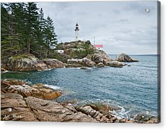 Acrylic Print featuring the photograph Point Atkinson Lighthouse And Rocky Shore by Jeff Goulden