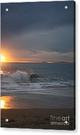 Acrylic Print featuring the photograph Point Mugu 1-9-10 Sun Setting With Surf by Ian Donley