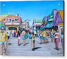 Point Pleasant Beach Boardwalk Acrylic Print by Melinda Saminski