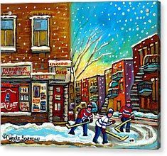 Pointe St. Charles Hockey Game At The Depanneur Montreal City Scenes Acrylic Print by Carole Spandau