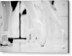 Pointed Toe In Ballet Slippers At A Ballet School In The Uk Acrylic Print by Joe Fox