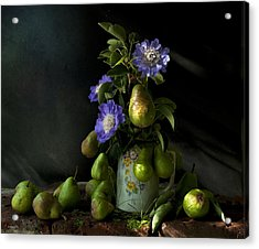 Poires Et Fleurs Acrylic Print