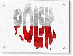 Poland Typographic Map Flag Acrylic Print by Ayse Deniz