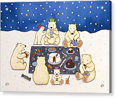 Polar Bear Picnic Acrylic Print by Cathy Baxter
