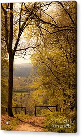 pole fence at top of picturesque view of Steep from Ashford Hang Acrylic Print