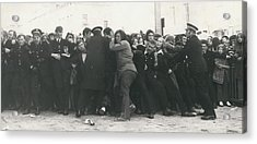 Police Hold Back Screaming Fans Trying To Get Tickets Acrylic Print by Retro Images Archive