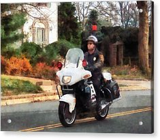 Police - Motorcycle Cop On Patrol Acrylic Print by Susan Savad
