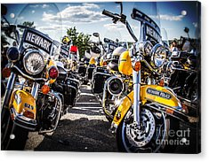 Police Motorcycle Lineup Acrylic Print by Eleanor Abramson