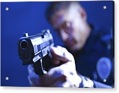 Police Officer Aiming Gun Acrylic Print by Jupiterimages